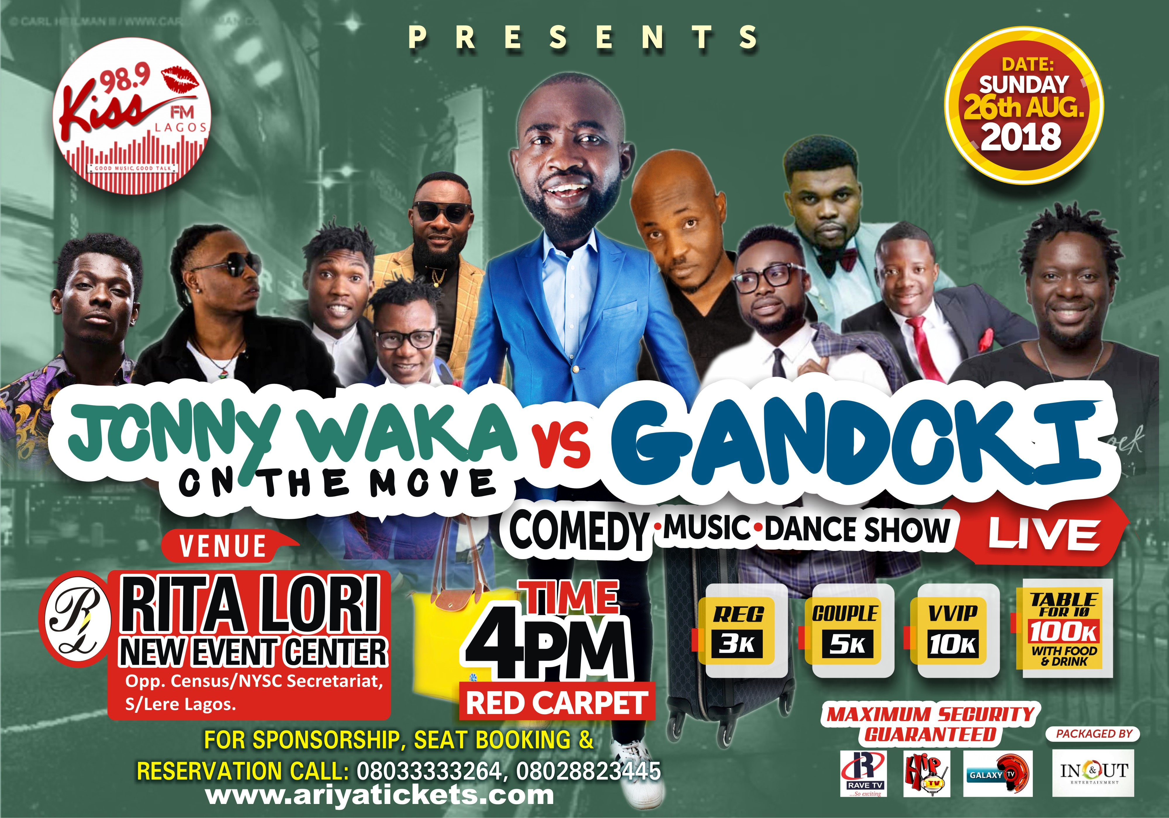 event flier with group photo of comedy giants